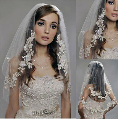 Two Layer White Ivory Champagne Lace Applique Wedding Veil Elbow Bridal Veils
