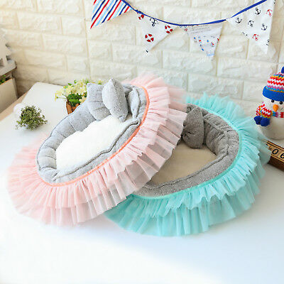 Lace Bow Cushion Removable Washable Warm Mat Nesting Bed Pet Dog Cat House Puppy