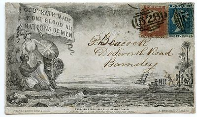 RARE 1856 Anti-Slavery Propaganda Envelope Preston to Barnsley with 1855 1d + 2d