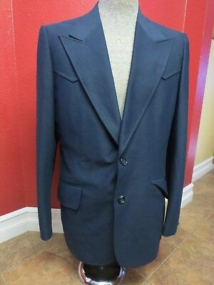 Vintage 70's 3 piece Western Suit Size 42 L Polyester Navy Blue Flared Pants