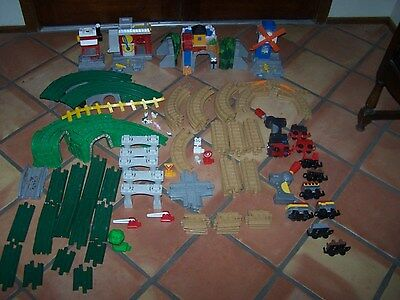 Fisher Price GeoTrax Trains Station Tracks Ramps HUGE LOt