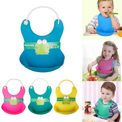 UK Solid Soft Silicone Baby Bib Waterproof Feeding Weaning Roll Up Aprons BPA