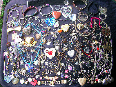 Lot Of Vintage/now Costume Jewelry All Hearts For Wear Crafts 124 Pieces Nice