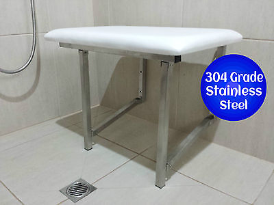 Shower Chair Seat Fold Up Disabled Aid Stainless Steel Padded Seat Compact