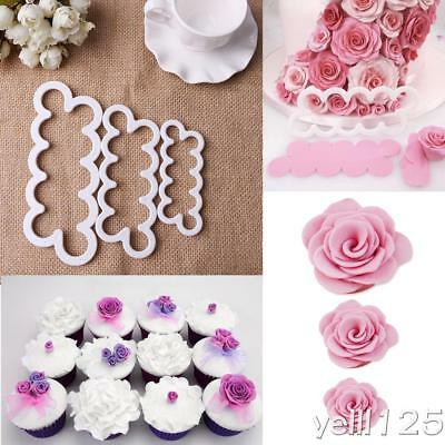 AU 3 Pcs Rose Petal Flower Cutter Fondant Icing Tool Sugarcraft Decorating Mould