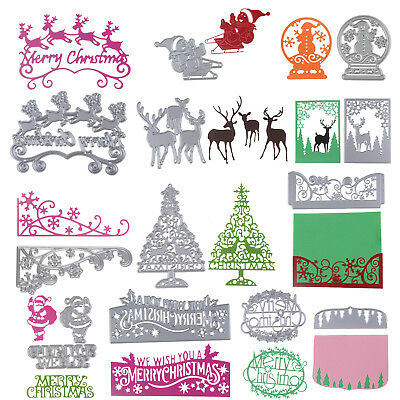 Merry Christmas Metal Cutting Dies Stencil Scrapbooking Album Paper Card Craft