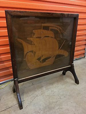Antique Vintage Qld Maple Fire Place Summer Screen Nautical Ship Theme