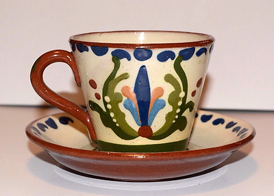 LONGPARK DEVON POTTERY TORQUAY MOTTO-WARE Cup and Saucer