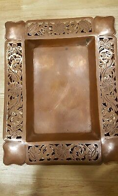 Vintage  Copper Tray Arts And Crafts  Hand Made Unknown  Makers Mark