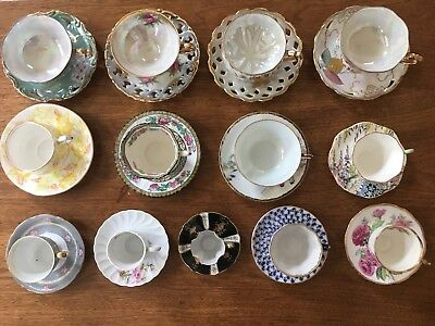 Vintage Mixed Lot Of 13 Bone China,Fine Tea Cups and Saucers