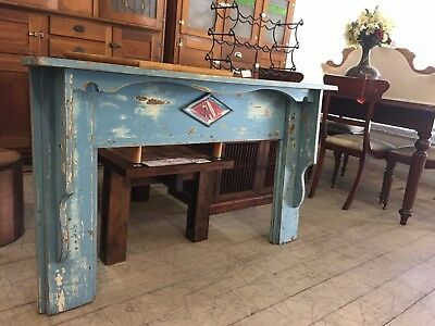 Antique Vintage Rustic Timber Fireplace Fire Place Surround Mantle Blue Mirror