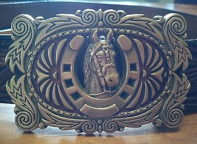 vintage baron buckles brass horse belt buckle and tooled leather belt retro