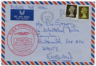 Antarctic Forces Airmail Maritime Cancel 1970 Ship Endurance Commercial Machins