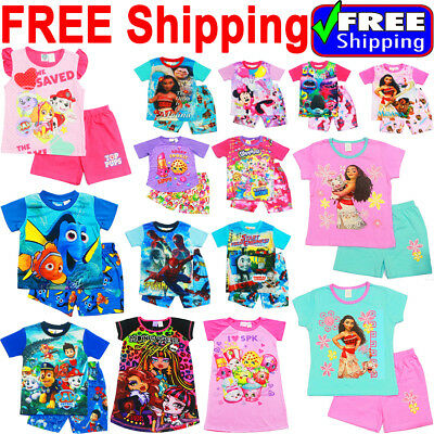 New Size 1-12 Kids Pyjamas Summer Boys Girls Paw Moana Sleepwear Pj Tshirt Troll
