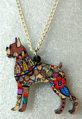 "Boxer Dog Pup Jewelry Acrylic Pendant Necklace Multicolor Floral Beige 18"" Chain"