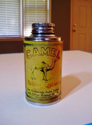 OLD, Vintage, Antique  CAMEL RUBBER CEMENT Cone Top Style Tin..3.75 Inches Tall