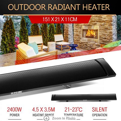 2400W Electric Radiant Strip Heater Panel Outdoor Home Heating Slimline Heat Bar