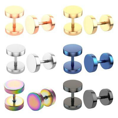 Pair Stainless Steel Mens Womens Stud Earrings Ear Piercing Plugs Tunnel Punk