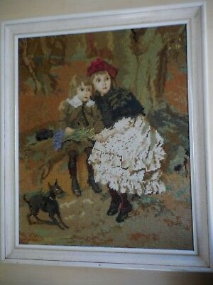 Tapestry  Completed & Framed Girl & Boy With Dog Professionally Hand Made