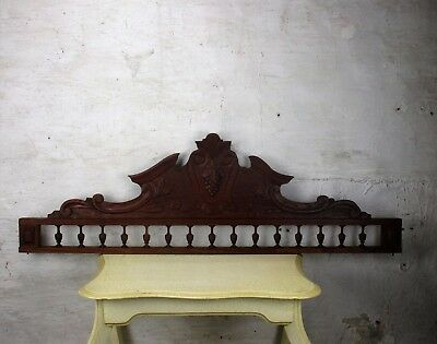 Large Gorgeous Hand Carved Wooden Pediment Overdoor Ornamental Architectural