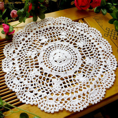 Hollow Flower Placemat Hand Crocheted Lace Doilies Round Table Coaster Rakish