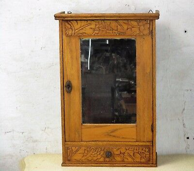 Small Hand Carved Wood  Medicine Wall Cabinet Apothecary  Mirror Drawer Ornate