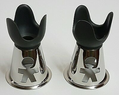 """Authentic - Alessi - Two """"girotondo"""" S/s Egg Cups - By: """"king-Kong"""" (Italy-1991)"""