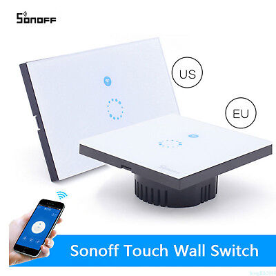 Sonoff Touch US WIFI LED Light Switch Luxury Glass Panel Wireless Remote Control