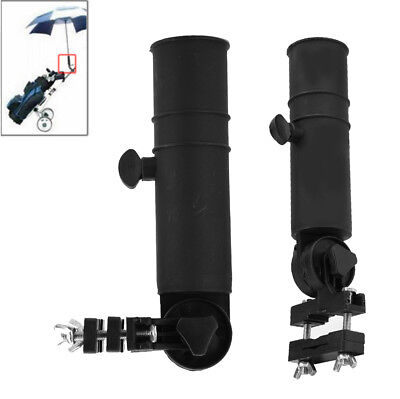 Black Adjustable Golf Umbrella Brolly Holder Cart Accessory Plastic for Trolley