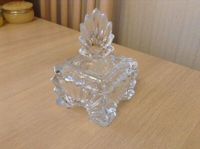 Pretty Vintage Cut Glass Trinket Box Great for any Dressing Table ....