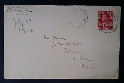 1916 Canada Cover ties 2+1c carmine KGV stamp w War Tax surcharge can North Head