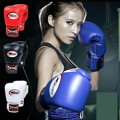 Blue 10OZ Twins PU Leather Kick Boxing Gloves Men Women Karate MMA Gloves Boxing