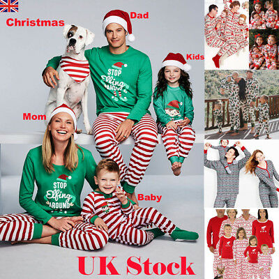 6 Styles Family Matching Christmas Pajamas PJs Sets Xmas Sleepwear Nightwear UK