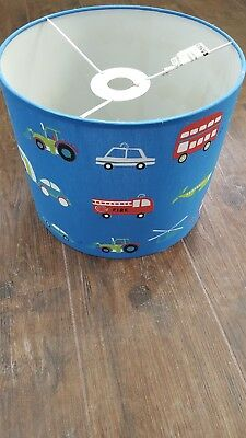 Lampshade - Blue Transport Themed featuring cars, buses and aeroplanes
