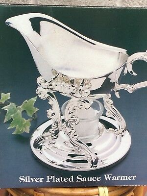 Vintage Silver plate Sauce Boat With Stand Warmer