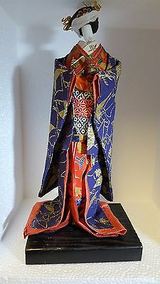 Vintage Japanese 10 inch Washi Paper Doll Kimono Doll Flying Crane Pattern