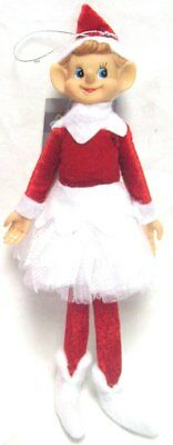 Premier 30cm Hanging Decorative Christmas Tree Elf In TuTu Dress Red & White