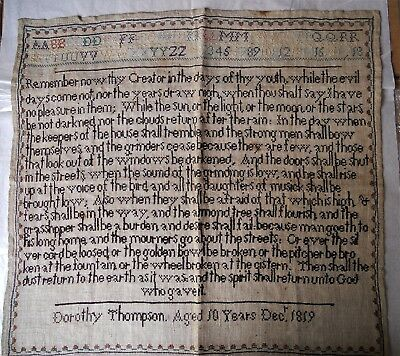 Rare early 19th century sampler.  Never framed.