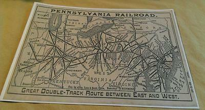 1899 Pennsylvania Railroad PRR RARE Double Track Map 100+ Towns Stations Poster