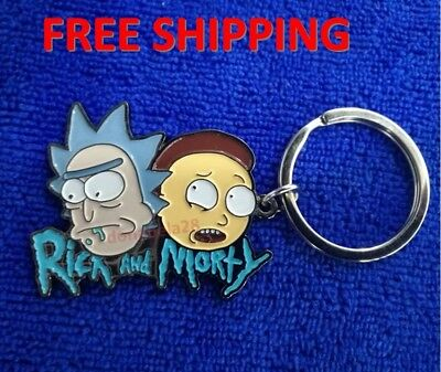 Rick And Morty Face Key Chain Key ring Adult Swim Funny Cartoon Metal Xmax Gift