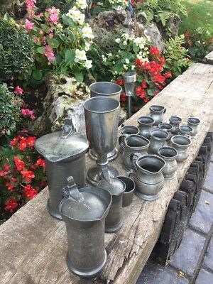 Job lot Of Antique French And English Pewter
