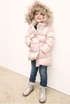Baby Gap Girl's Pink Warmest Fur Lined Long Puffer Coat Jacket Size 3T NWT