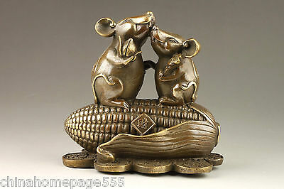 Chinese Handmade Exquisite Rare Corn Mice Bronze Statue