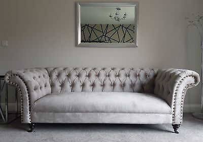 New England Style Curved Chesterfield Putty Grey Velvet 3 & 2 Seater Sofa Couch
