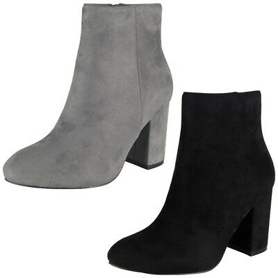 Womens Ladies Ankle Boots Faux Suede Zip High Heel Work Plain Office Shoes Size