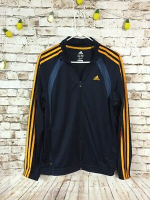 Adidas Men's Athletic Zip Up Track Jacket XL Navy Blue Yellow