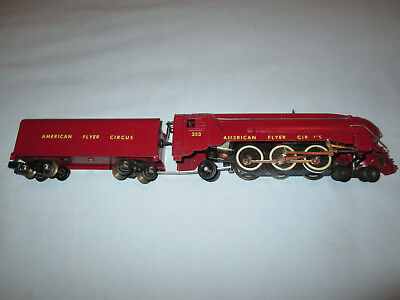 American Flyer #353 Circus Locomotive and Tender. Runs Well. Repainted