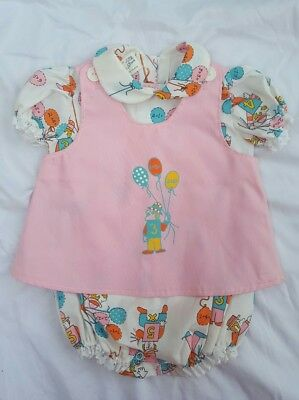 Doe Spun 12m VINTAGE romper math theme with pink vest balloons numbers