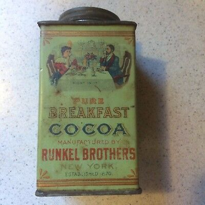 Antique RUNKEL Brothers ~ Pure Breakfast COCOA ~ Half Pound TIN ~ New York