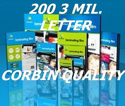 Ultra Clear (200) Letter Thermal Laminating Laminator Pouches 9 x 11-1/2 3 Mil